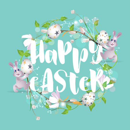 Happy Easter with decorative frame with plants, flowers, rabbits and eggs on green-blue background Illustration