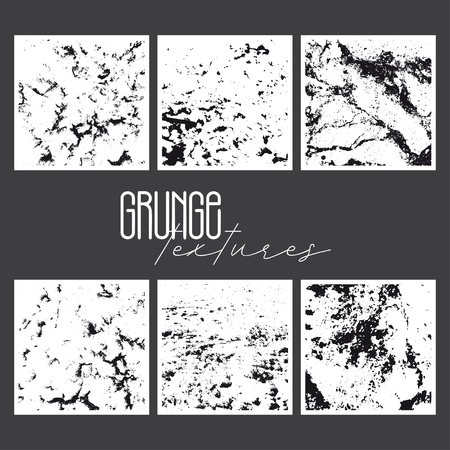 Set of grunge textures in black on a white background with imitation of snow and stone.