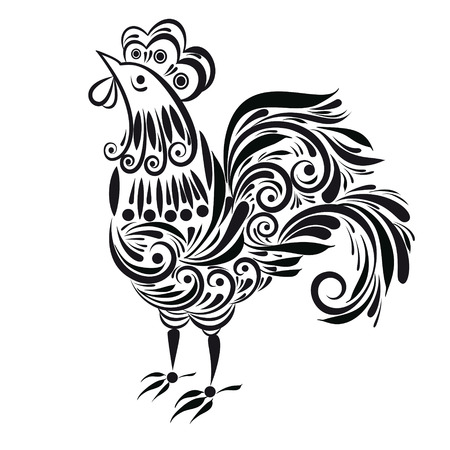 Decorative silhouette of a rooster on a transparent background in the graphic style. Ilustração