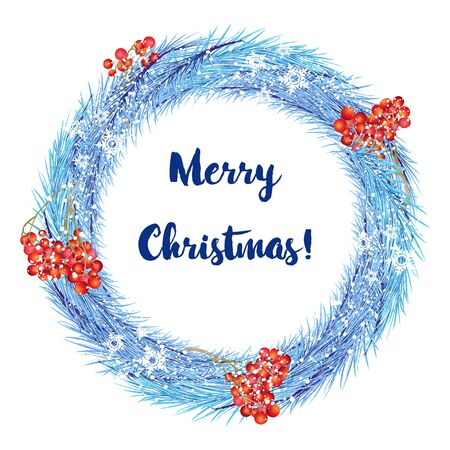 Christmas wreath with Rowan on white background with text
