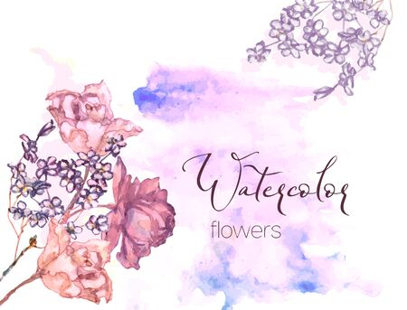 Composition of delicate pastel watercolor flowers on the background of watercolor spots in pink and blue on a white background. Illustration
