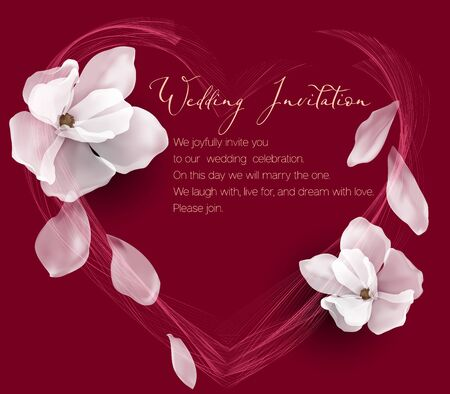 Wedding invitation with magnolias and abstract heart with text on a burgundy background.