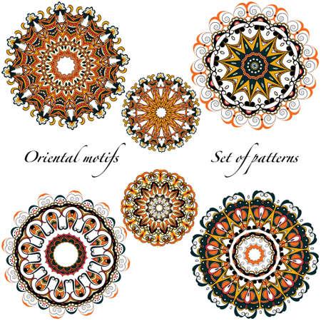 Oriental motifs, mandalas in a warm Vektorové ilustrace