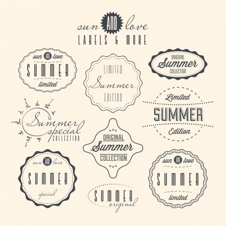 vintage label: Set of summer related vintage labels