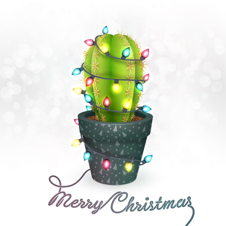 cacti: Christmas Greeting Card with a Cactus in a Pot Illustration