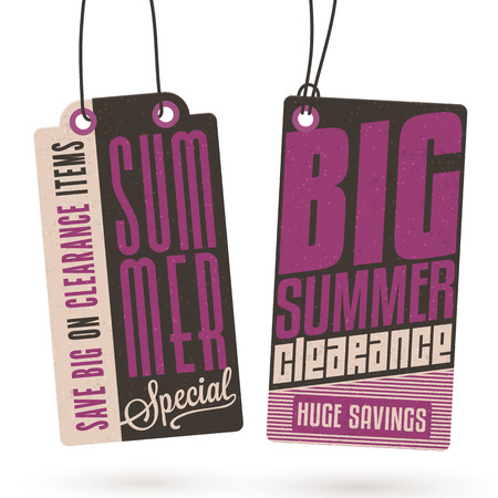 hang tag: Collection of Vintage Summer Sales Related Hang Tags Illustration