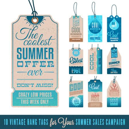 Verzameling van 10 vintage Summer Sales Related Hang Tags Stock Illustratie