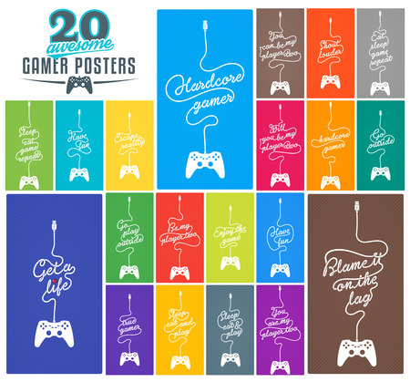 coloured background: Collection of 20 PC Gaming Related Posters with Gamepad and Cable in the Shape of a Message on Coloured Background