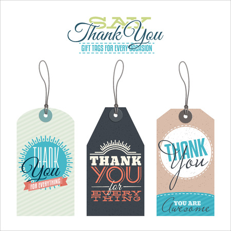 Collection of vintage thank you labels