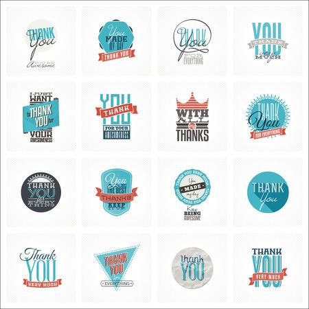 cobranza: Colección de 16 vintage le agradece tarjeta diseños. Bien estructurado archivo vectorial con cada plantilla de la tarjeta en la capa separada. Vectores