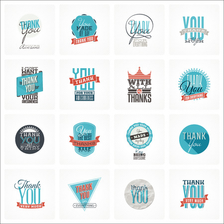 typo: Collection of 16 vintage Thank You card designs. Well structured vector file with each card template on separate layer.