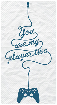 textured paper: Gamepad with Cable in the Shape of a Text Message on Textured Paper Background Illustration