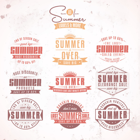 over: Collection of summer sales related vintage labels