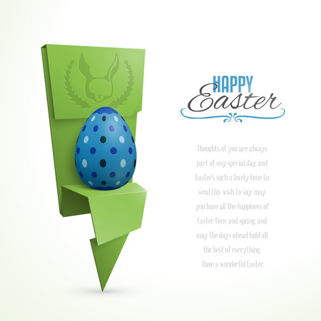 Easter card with abstract origami egg holder Vector