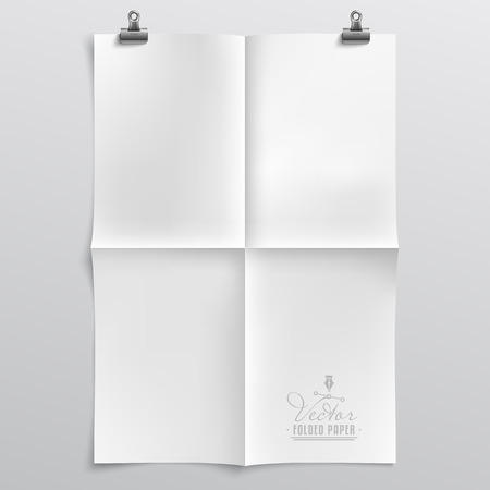 unfolded: Realistic, Clean Vector Folded Paper Template with Paper Clips and Shadow - Layered, Organized Vector File