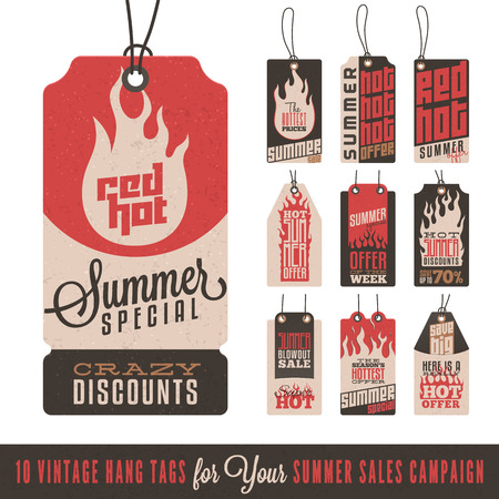 hot announcement: Collection of 10 Vintage Summer Sales Related Hang Tags
