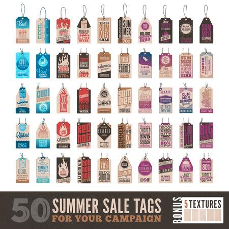 50 夏の販売のコレクション関連ハング タグ + 5 ビンテージ テクスチャ