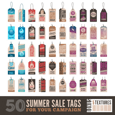 sale tags: Collection of 50 Summer Sales Related Hang Tags + 5 Vintage Textures