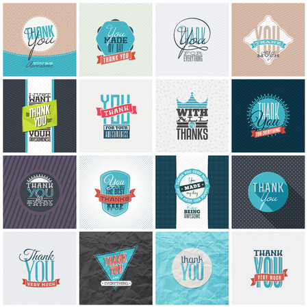 thanks: Collection of 16 vintage Thank You card designs. Well structured vector file with each card template on separate layer.