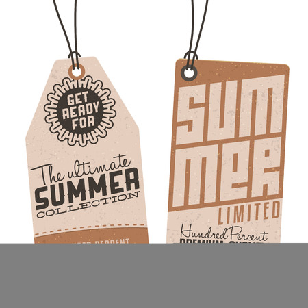 Collection of Vintage Summer Sales Related Hang Tags Illustration