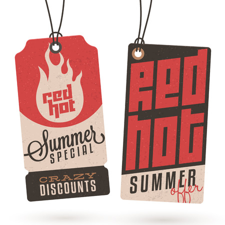 hot announcement: Collection of Vintage Summer Sales Related Hang Tags Illustration