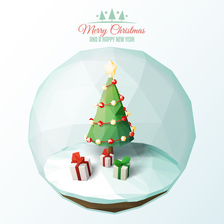 Low poly Christmas scene inside a glass ornament