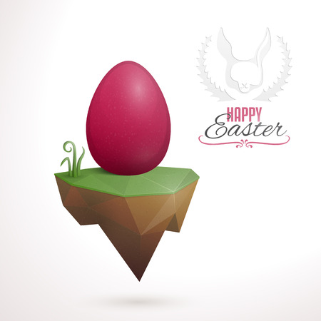 floating island: Easter card design with abstract,  low-poly floating island and easter egg