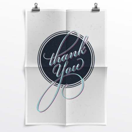unfolded: Thank You Note with a Retrofuturistic Touch on a Folded Poster Template with Realistic Texture and Shadow - Layered, Organized Vector File
