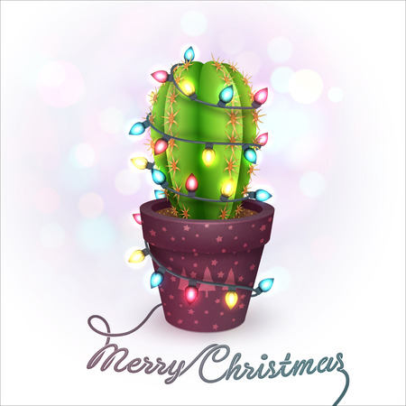 Christmas Greeting Card with a Cactus in a Pot Illustration
