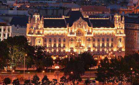 Hotel in Budapest in the night photo