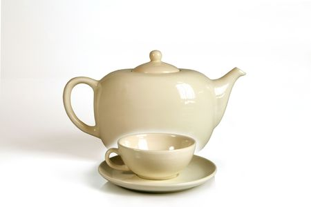 housewares: set of pot and cup for tea or coffee