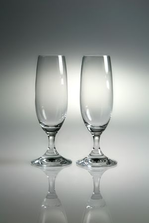 housewares: glasses like goblets with reflex on neutral background Stock Photo