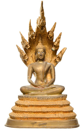 Beautiful old Thai Buddha statue that sitting on the great 7 heads serpent  The Buddha statue in Thailand is made for worship and made as a public art  photo