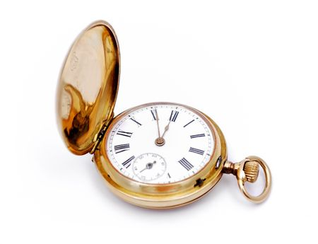 old gold pocket watch on a white background photo