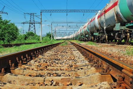 the train transports tanks with oil and fuel Stock Photo - 7396546