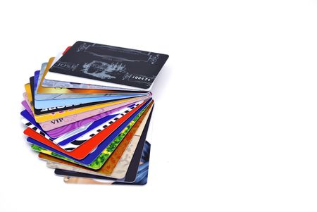 Plastic discount cards on white background