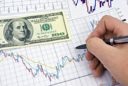 forex trading: analysis of stock charts, and $ 100 Stock Photo
