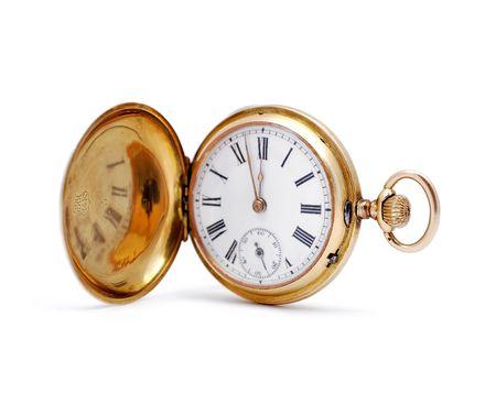 白い背景の上の古い金の懐中時計 写真素材