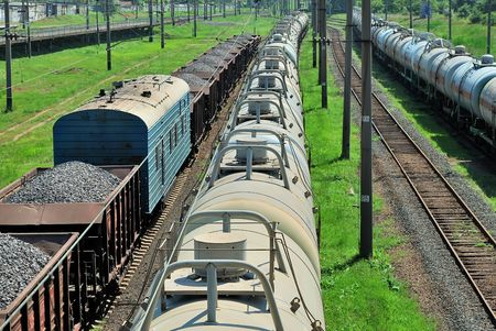 the train transports tanks and wagons photo