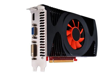 video card with three outputs on a white background