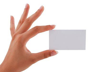 hand business card: biglietto vuoto nella sua mano una donna