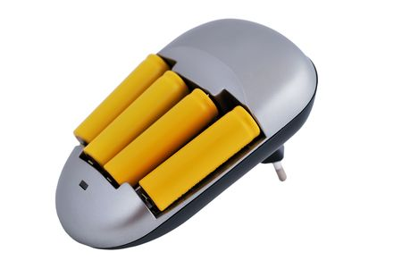 nimh: Charger with Batteries yellow on a white background