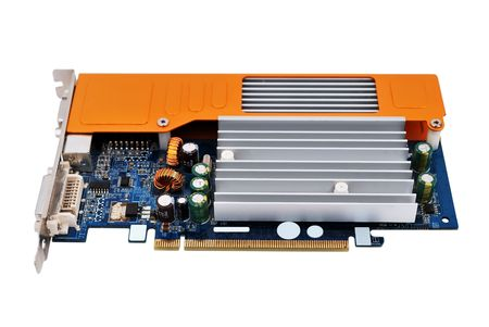 outputs: video card with three outputs on a white background