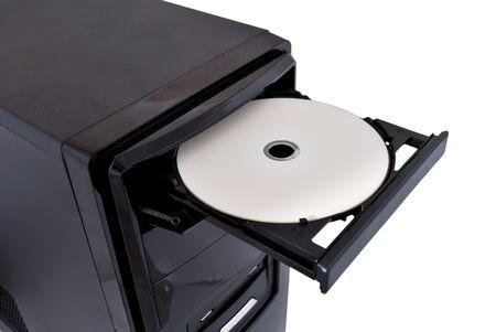 白い背景の上の dvd rom を開く