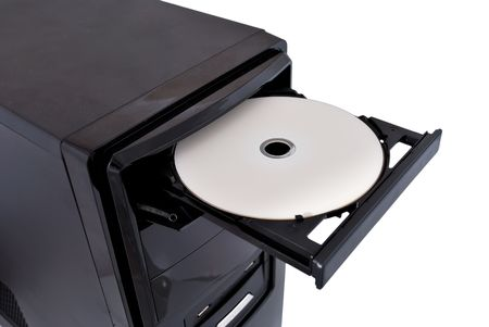 cd rom: open dvd rom on a white background Stock Photo