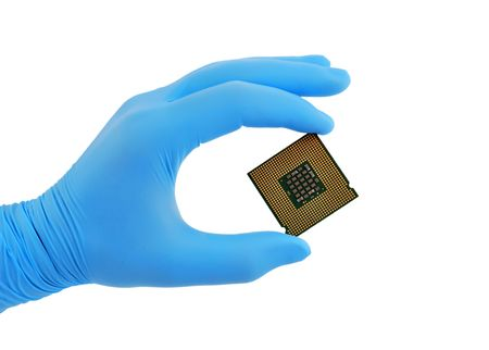 cpu in hand on white background
