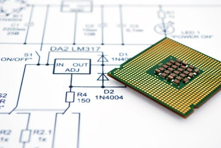 Wiring Diagram and CPU. close-up Stock Photo