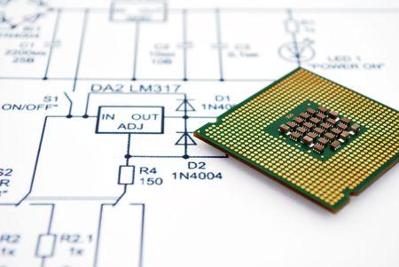 Wiring Diagram and CPU. close-up Фото со стока