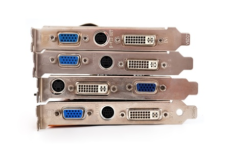 four video cards on a white background photo