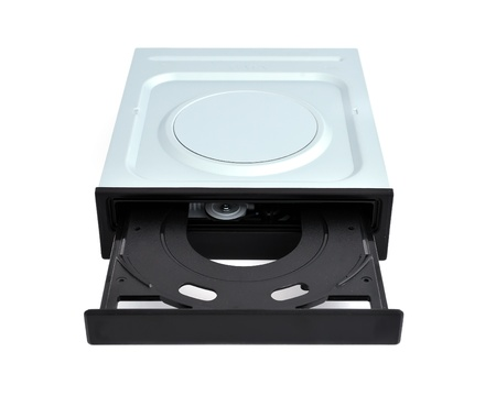dvdr: open dvd rom on a white background Stock Photo